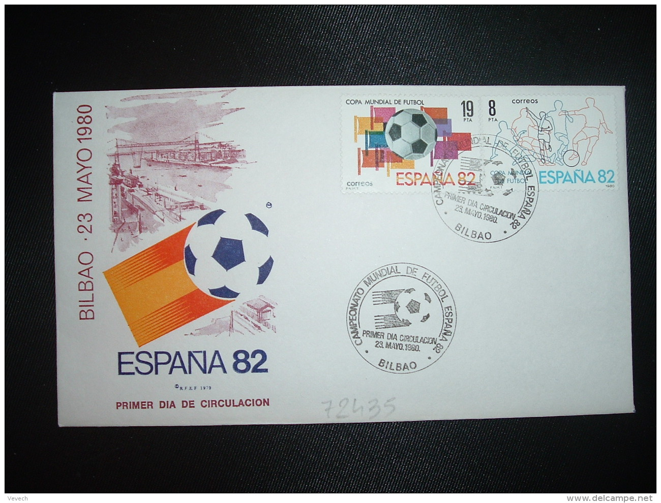 LETTRE TP ESPAGNE 19P + 8P OBL.23 MAYO 1980 FDC BILBAO CAMPEONATO MONDIAL DE FUTBOL ESPANA 82 - Fußball-Weltmeisterschaft