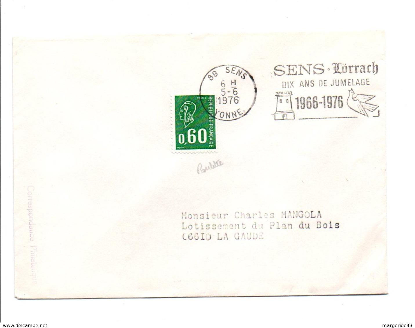 1 ER JOUR FLAMME DIX ANS JUMELAGE LÖRRACH-SENS 1976 - Marcophilie (Lettres)