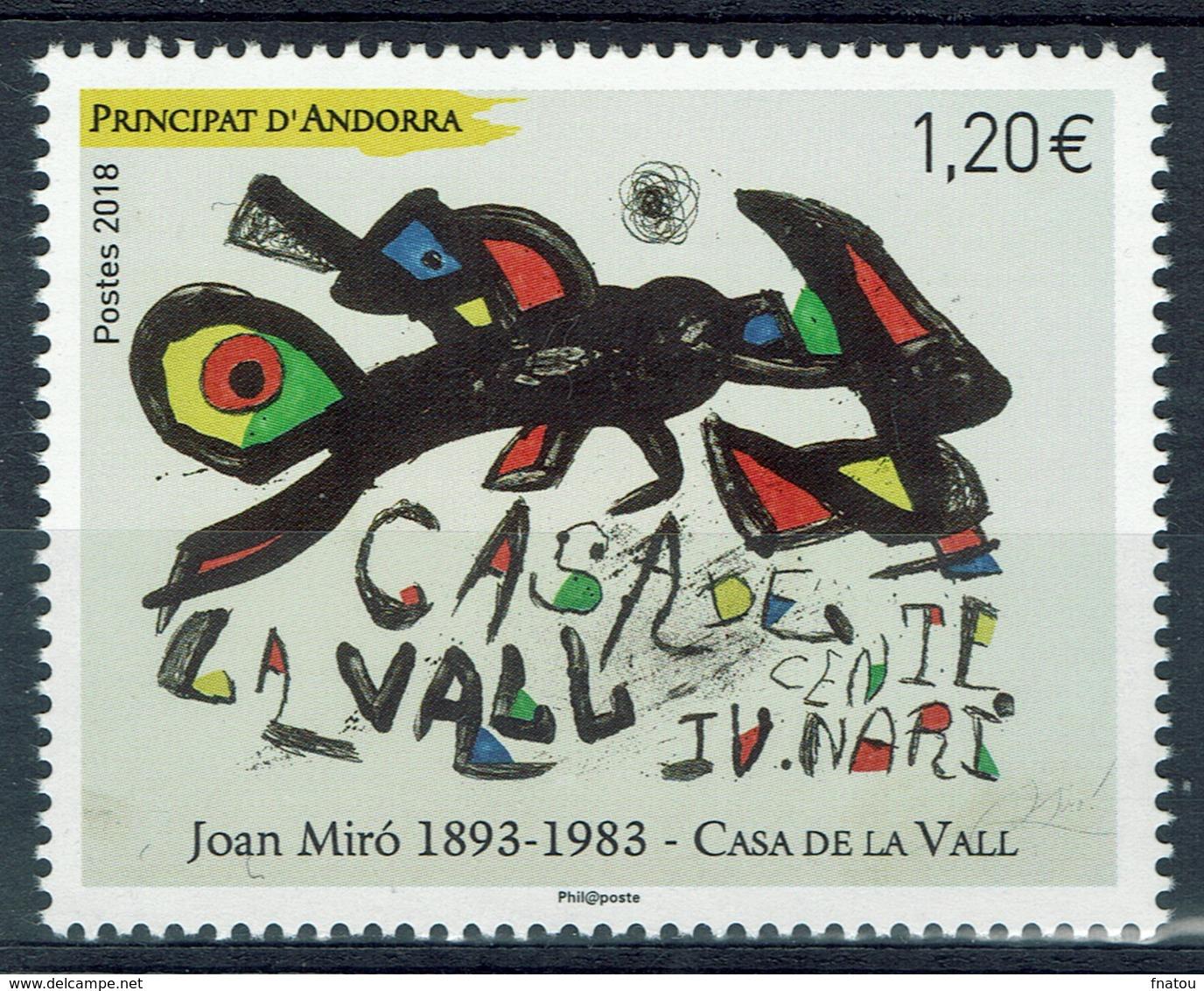 Andorra (French Adm.), Joan Miro, 2018, MNH VF - French Andorra