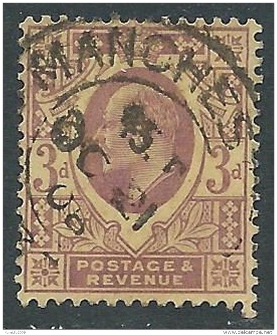 1902-10 GREAT BRITAIN USED SG 232b 3d DEEP PURPLE ORANGE YELLOW - Usati