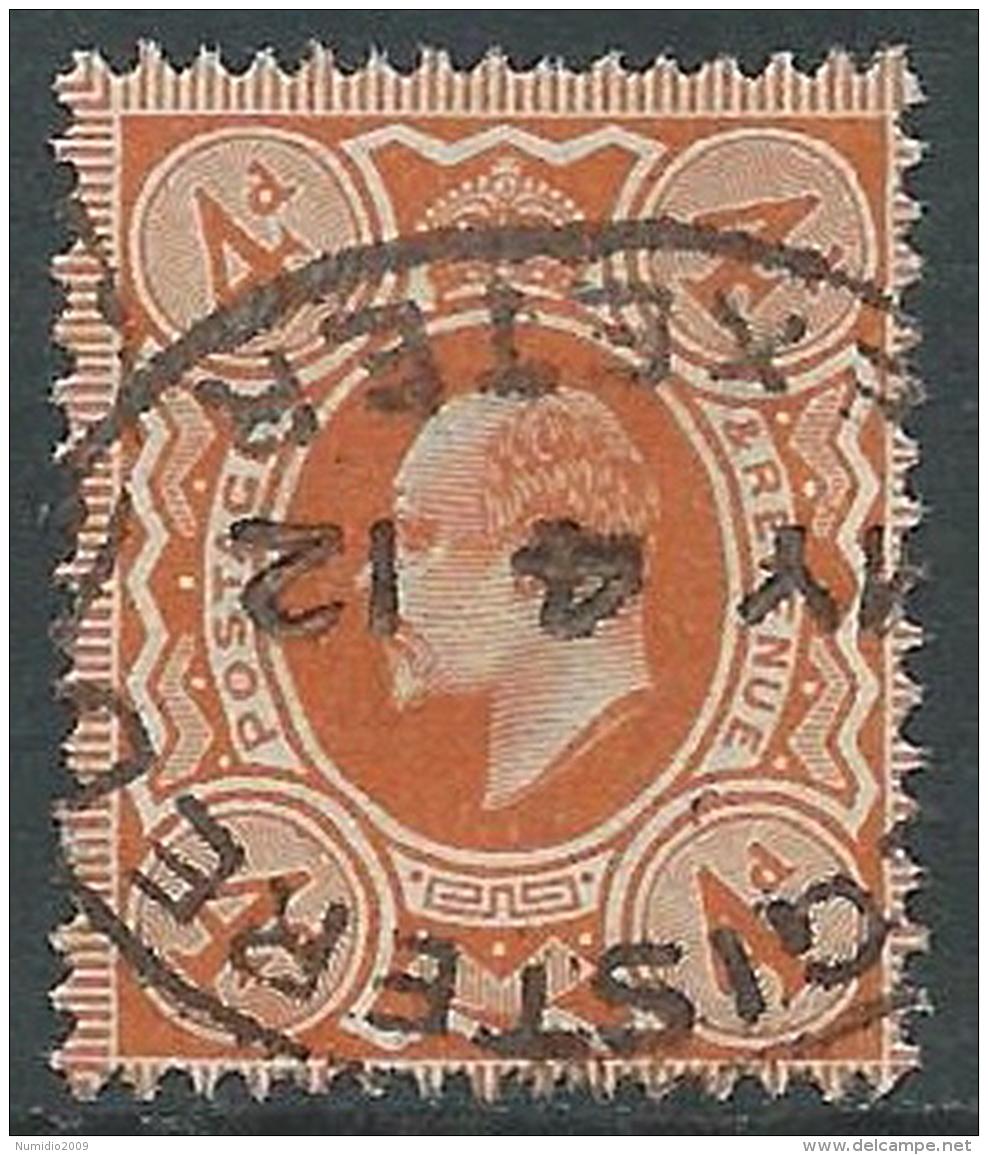 1902-10 GREAT BRITAIN USED SG 240 4d ORANGE RED - Usati