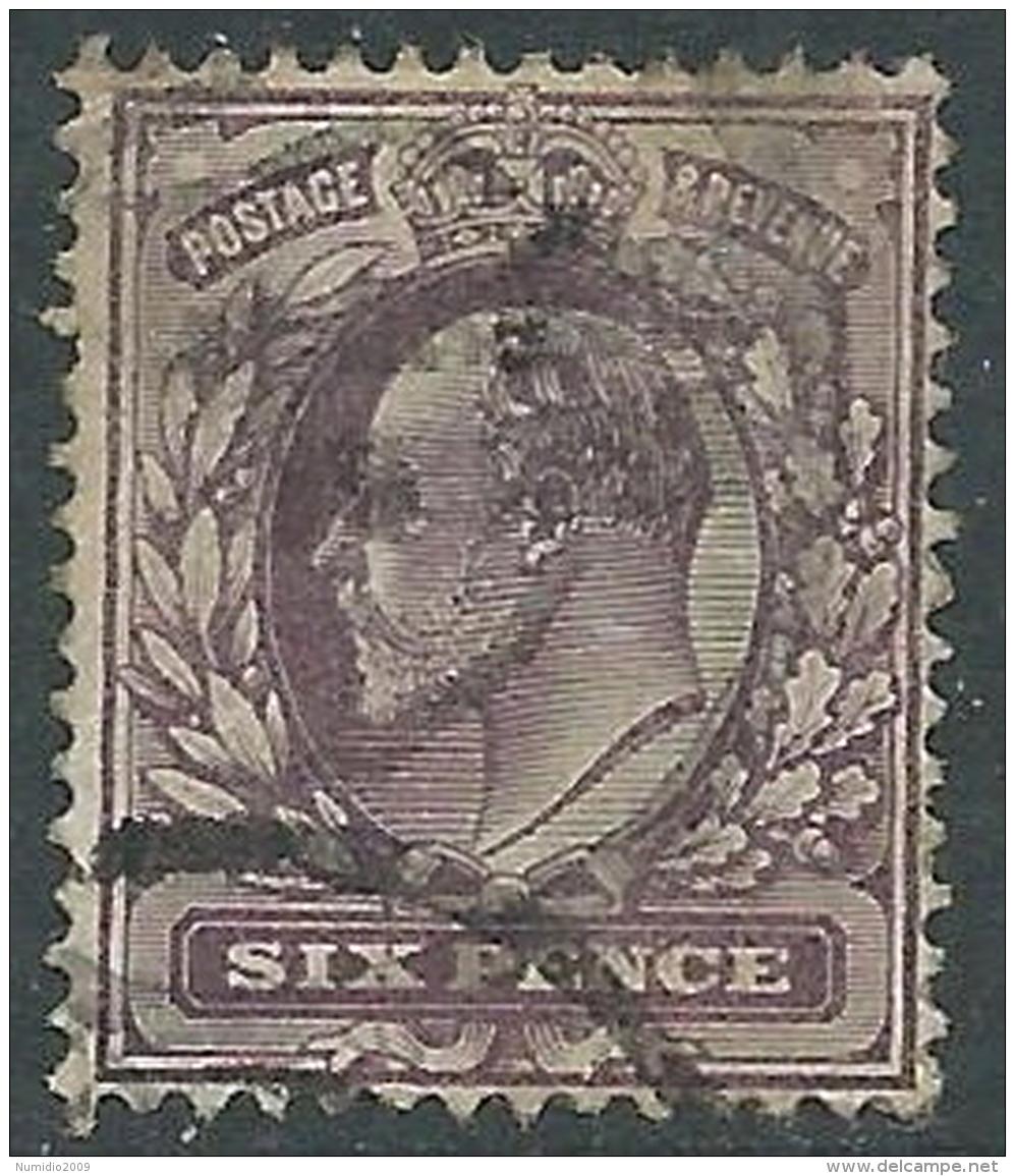 1902-10 GREAT BRITAIN USED SG 246 6d SLATE PURPLE - 1902-1951 (Re)