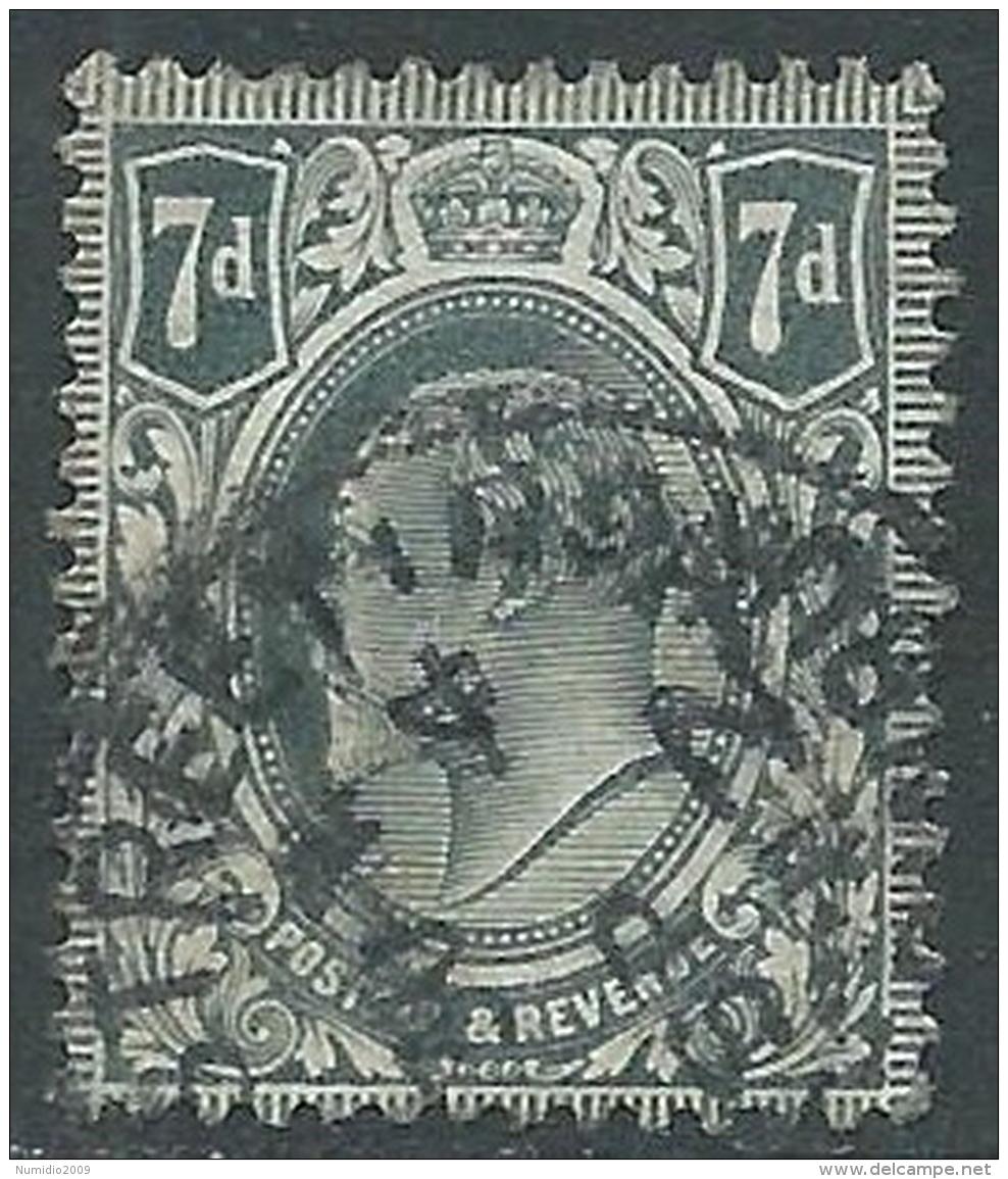 1902-10 GREAT BRITAIN USED SG 249 7d DEEP GREY BLACK - 1902-1951 (Re)