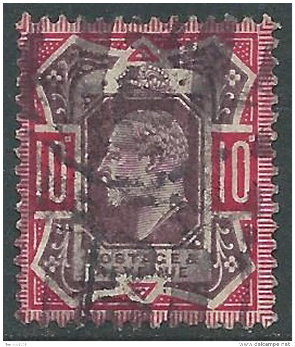1902-10 GREAT BRITAIN USED SG 254 10d DULL PURPLE & CARMINE - Usati