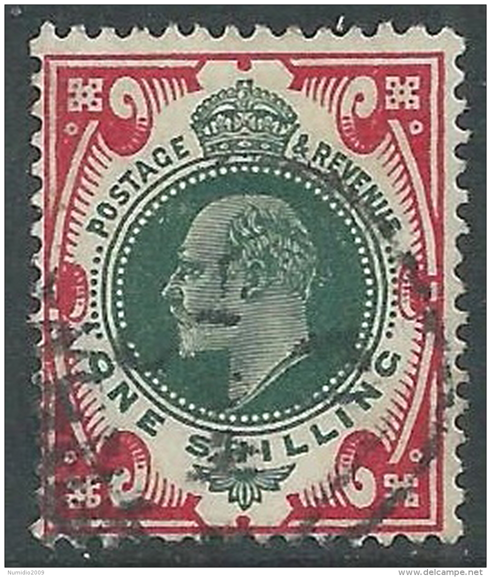 1902-10 GREAT BRITAIN USED SG 257 1s DULL GREEN & CARMINE - 1902-1951 (Re)