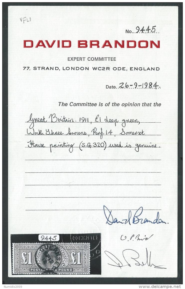 1911 GREAT BRITAIN USED SG 320 DEEP GREEN £1 CERTIFICATE DAVID BRANDON - 1902-1951 (Re)