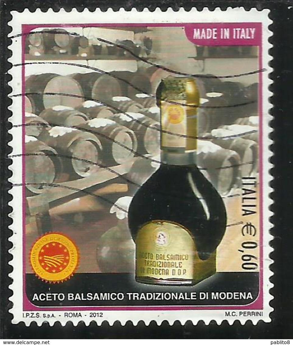 ITALIA REPUBBLICA ITALY REPUBLIC 2012 ACETO BALSAMICO TRADIZIONALE DI MODENA € 0,60 USATO USED OBLITERE' - 6. 1946-.. Republic