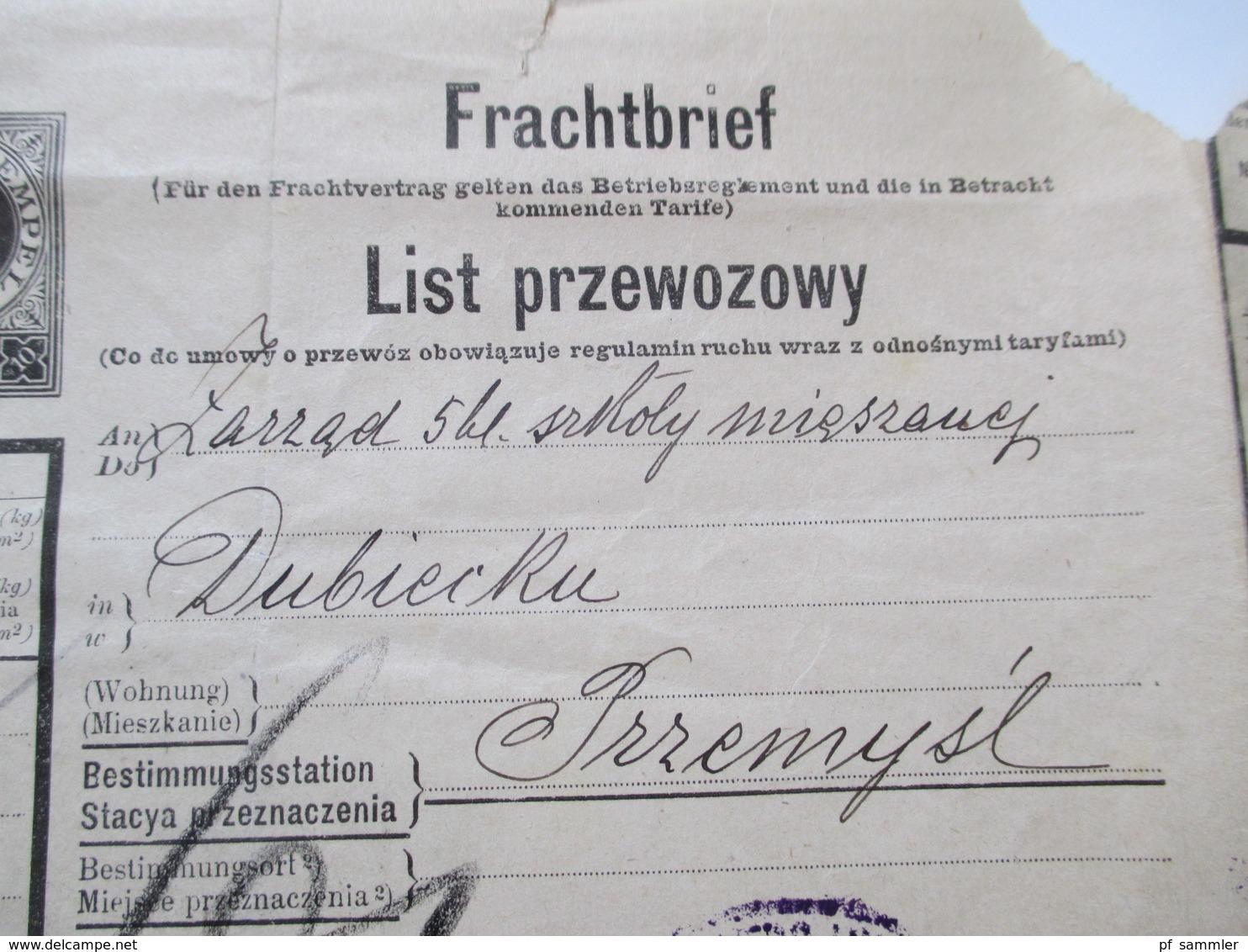 Österreich 1914 Frachtbrief Lemberg - Przemysl Viele Stempel / Vermerke!! Sehr Interessant!! Bahnpost - Briefe U. Dokumente