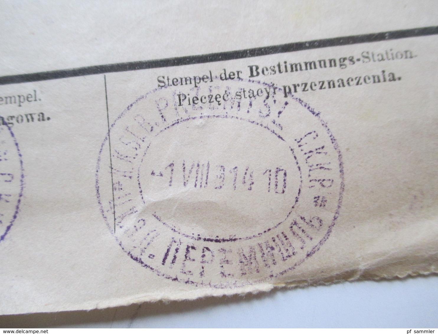 Österreich 1914 Frachtbrief Lemberg - Przemysl Viele Stempel / Vermerke!! Sehr Interessant!! Bahnpost - 1850-1918 Imperium