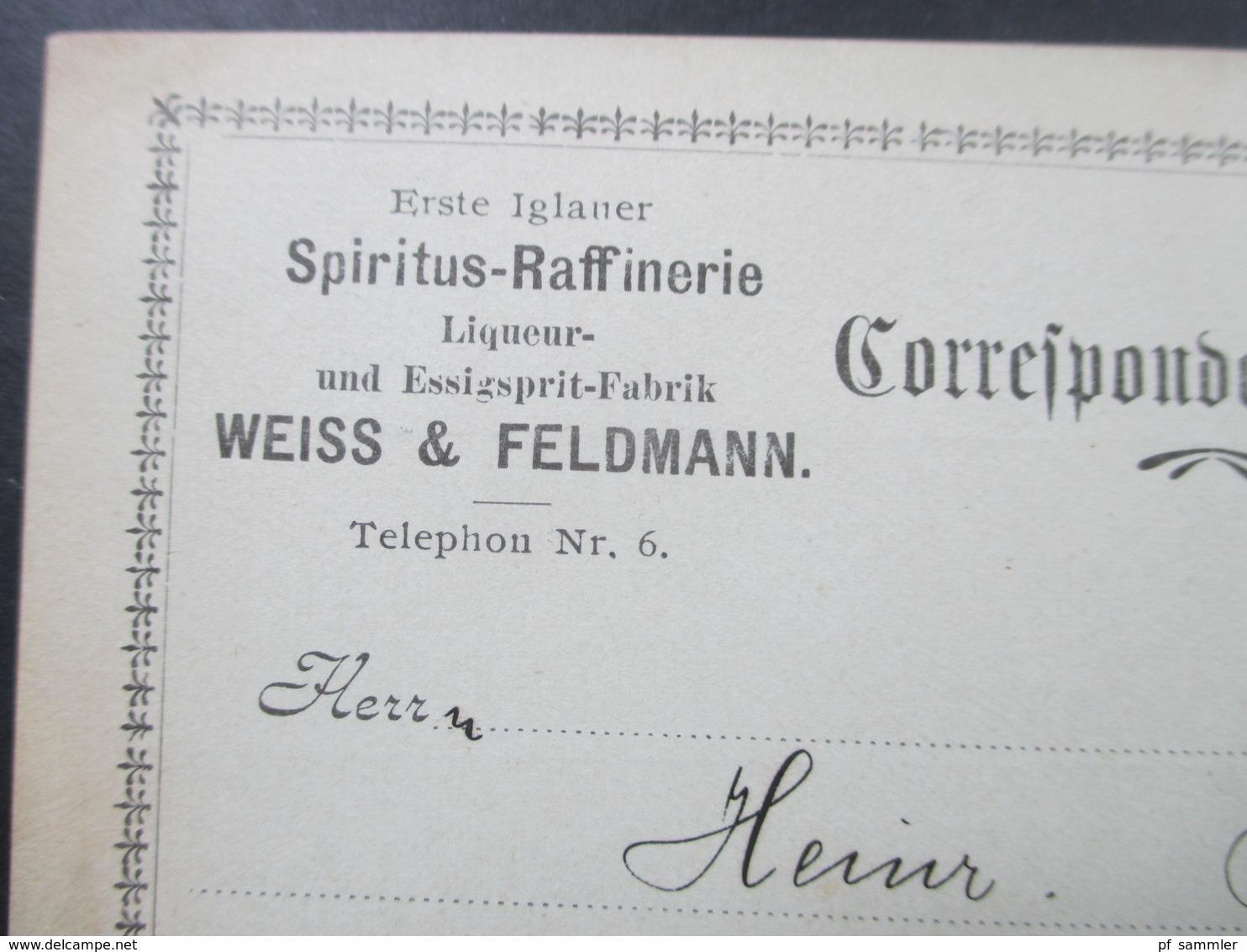 Österreich 1907 Postkarte Erste Iglauer Spiritus Raffinerie Liqueur Und Essigsprit Fabrik Weiss & Feldmann - 1850-1918 Imperium