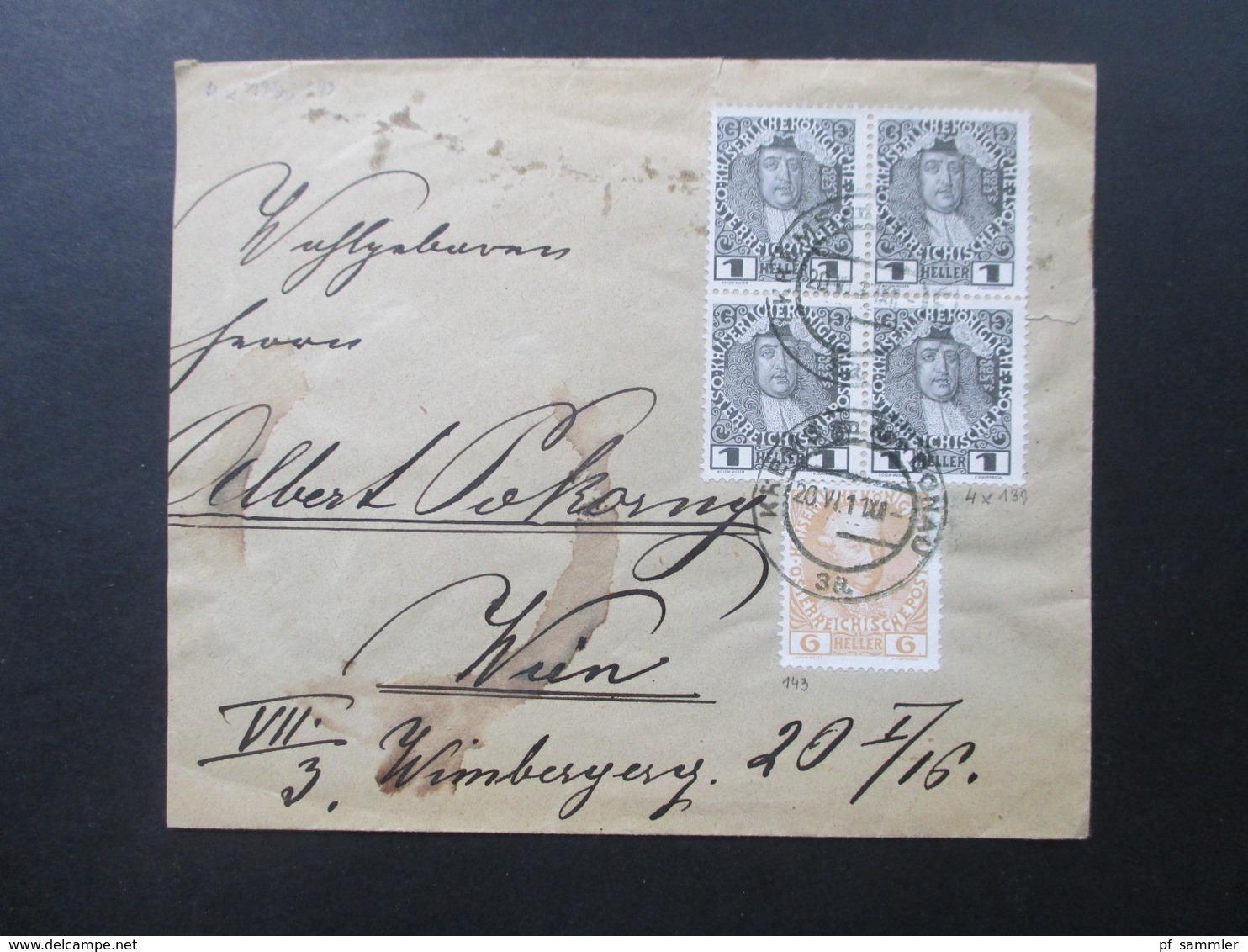 Österreich 1911 Brief Mit Nr. 139 Als 4er Block Und Nr. 143 MiF Vignette Bund Der Deutschen In Niederösterreich - 1850-1918 Imperium
