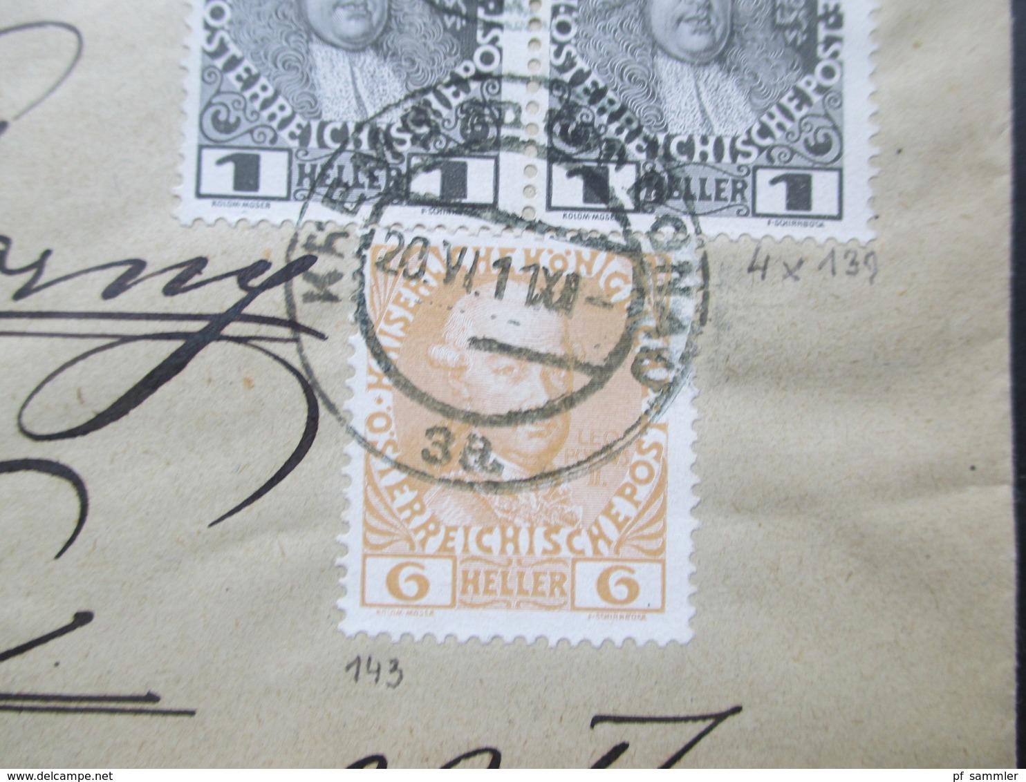 Österreich 1911 Brief Mit Nr. 139 Als 4er Block Und Nr. 143 MiF Vignette Bund Der Deutschen In Niederösterreich - Briefe U. Dokumente