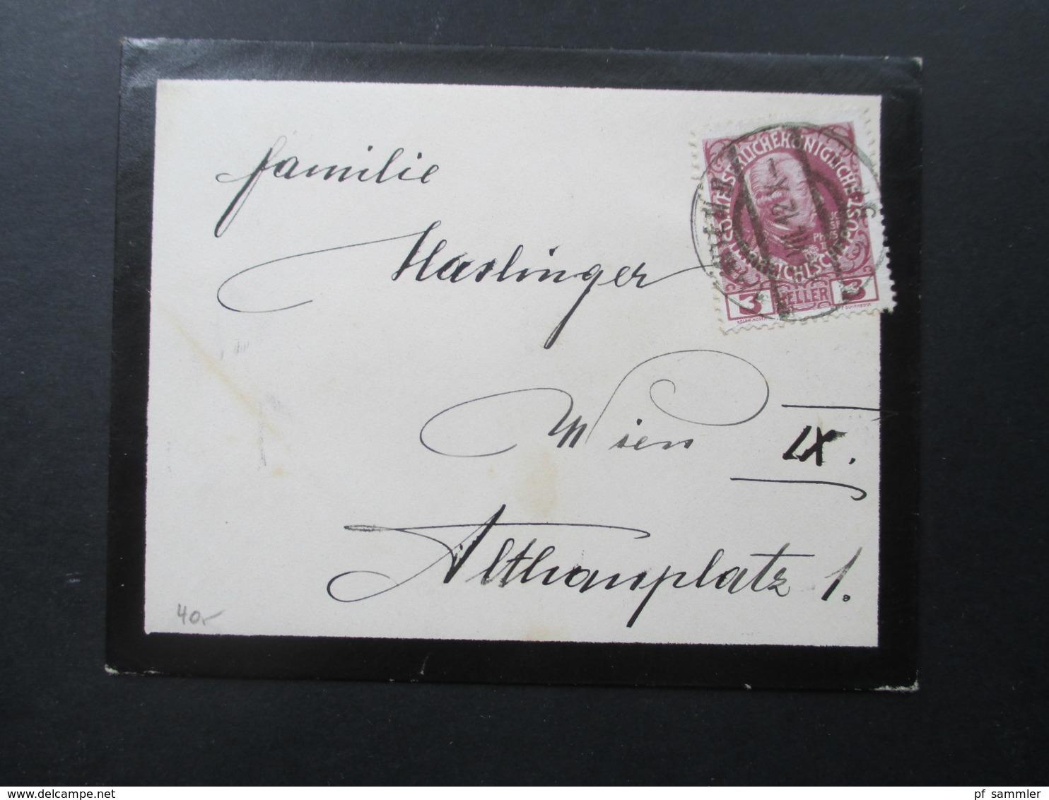 Österreich 1912 Kleiner Trauerbrief Mit Nr. 141 EF Wien Ortsbrief. Mit Inhalt / Danksagung! - Briefe U. Dokumente