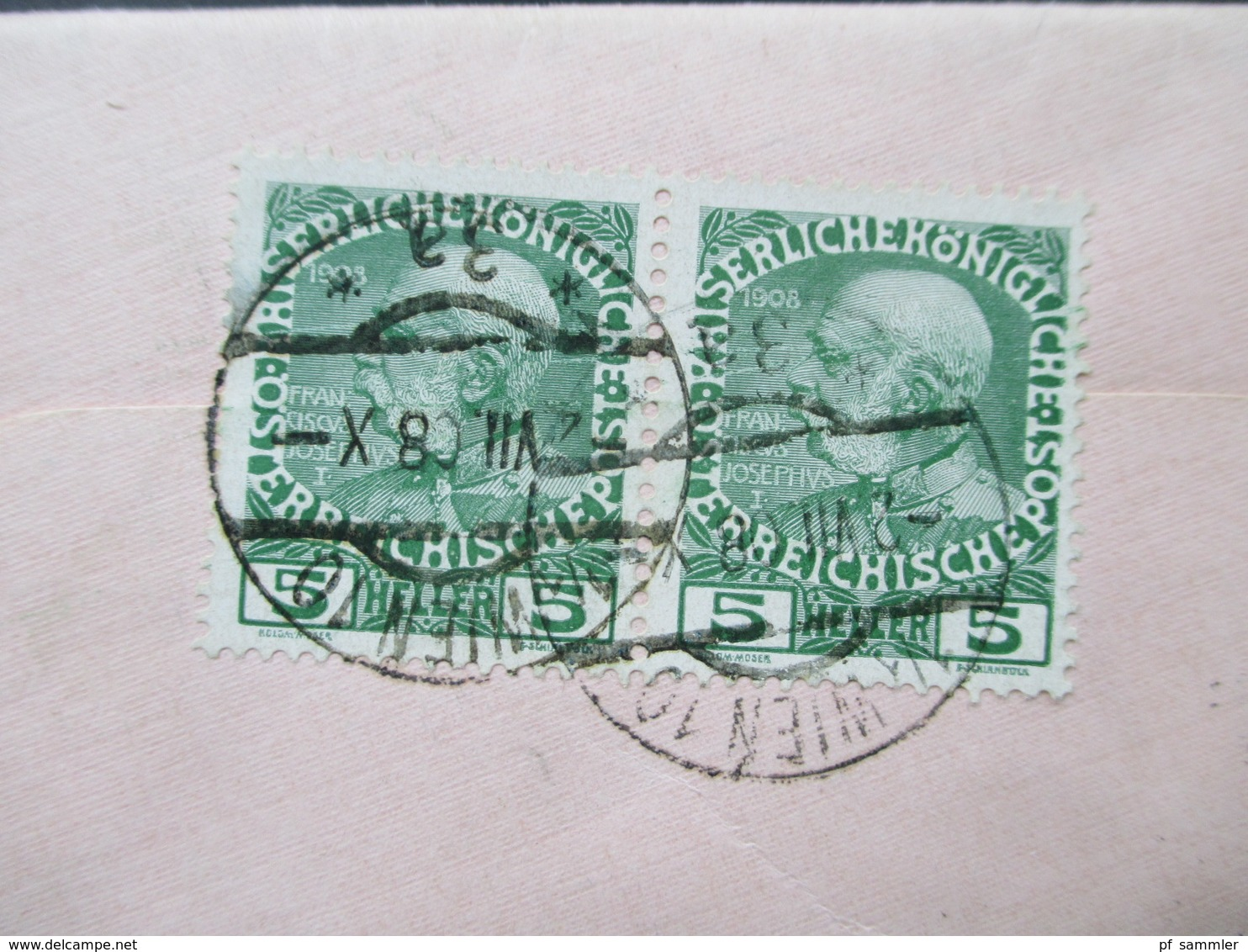Österreich 1908 Sehr Kleiner Brief!! 10,5x6cm Mit Nr. 142 Als Waagerechtes Paar. Mit Inhalt! Stenographie / Steno Brief - 1850-1918 Imperium