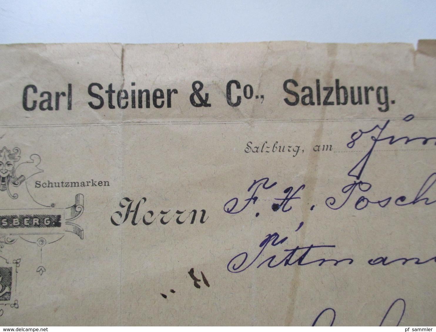 Österreich 1887 Frachtbrief / Waren Versand. Mit Steuermarke / Stempel Marke! Carl Steiner & Co Salzburg - 1850-1918 Imperium