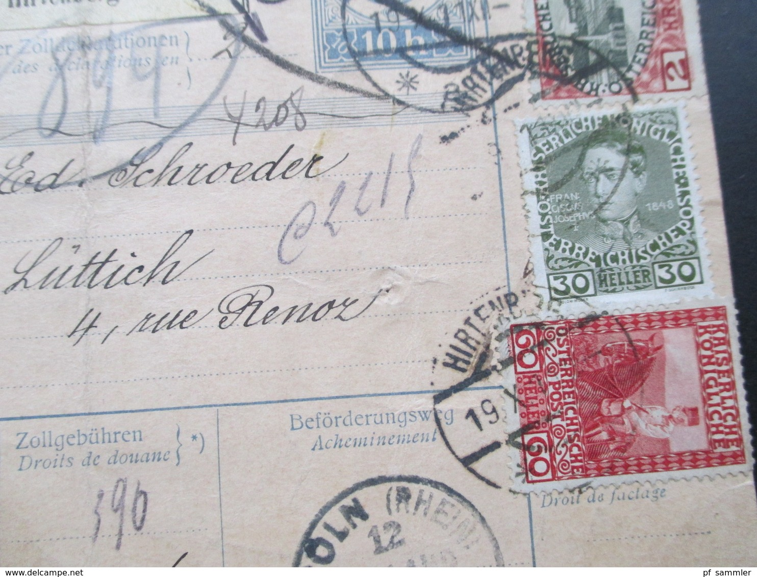 Österreich 1911 Nr. 154 MiF Paketkarte Mit Klebzettel 484 Hirtenberg Nach Lüttich über Köln U. Liege! Viele Stempel!! - Briefe U. Dokumente
