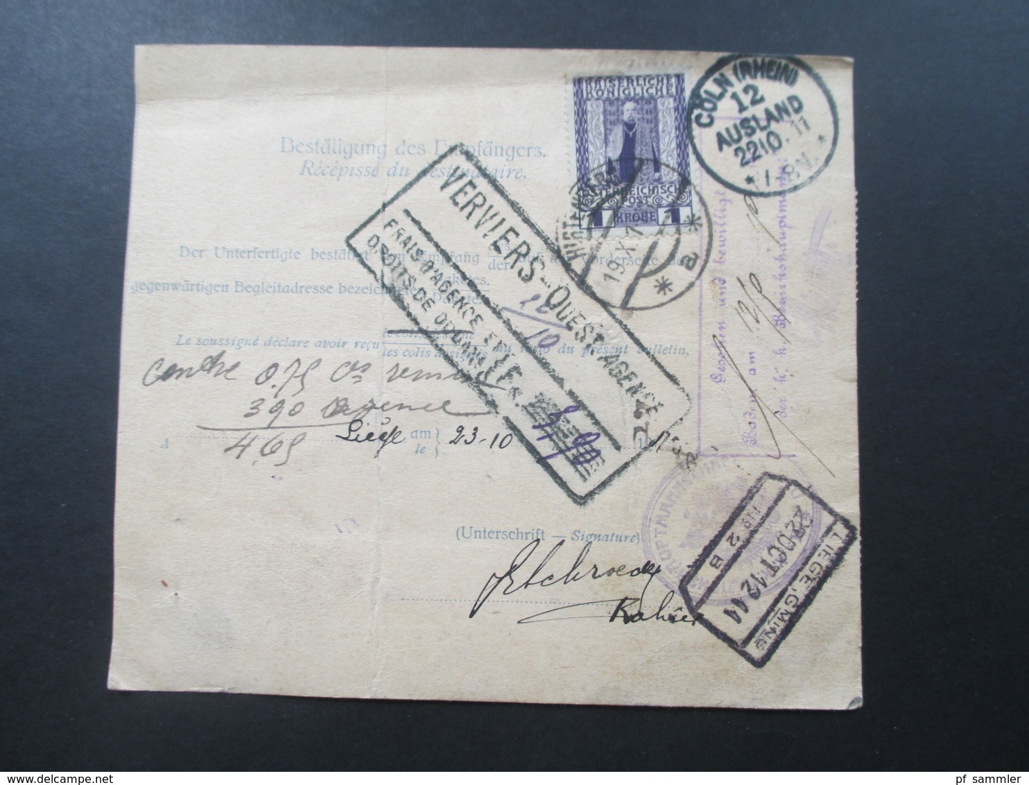 Österreich 1911 Nr. 154 MiF Paketkarte Mit Klebzettel 484 Hirtenberg Nach Lüttich über Köln U. Liege! Viele Stempel!! - 1850-1918 Imperium