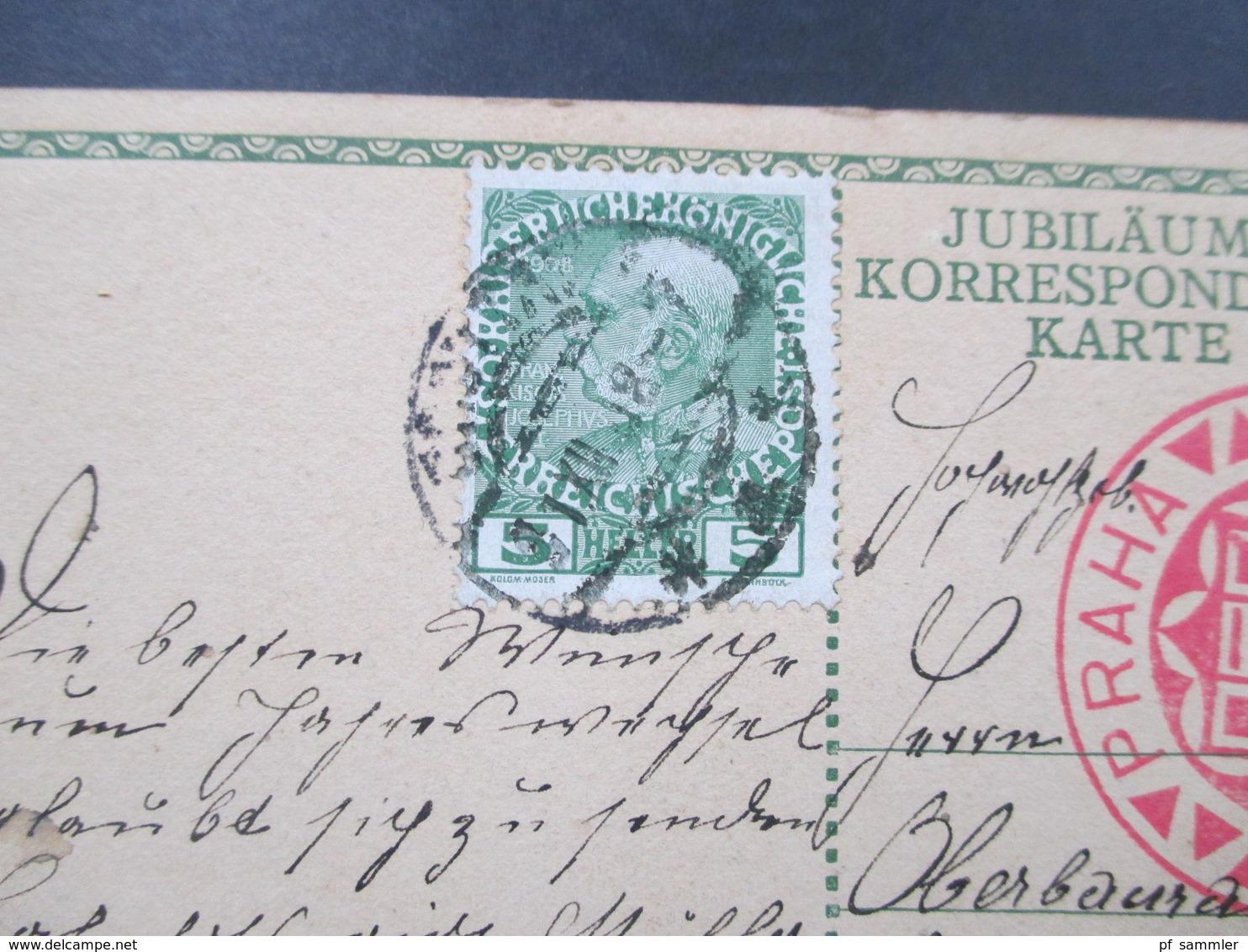 Österreich 1908 GA Zum 60. Regierungsjubiläum Kaiser Franz Joseph Mit Zusatzfrankatur. Roter SST - Briefe U. Dokumente