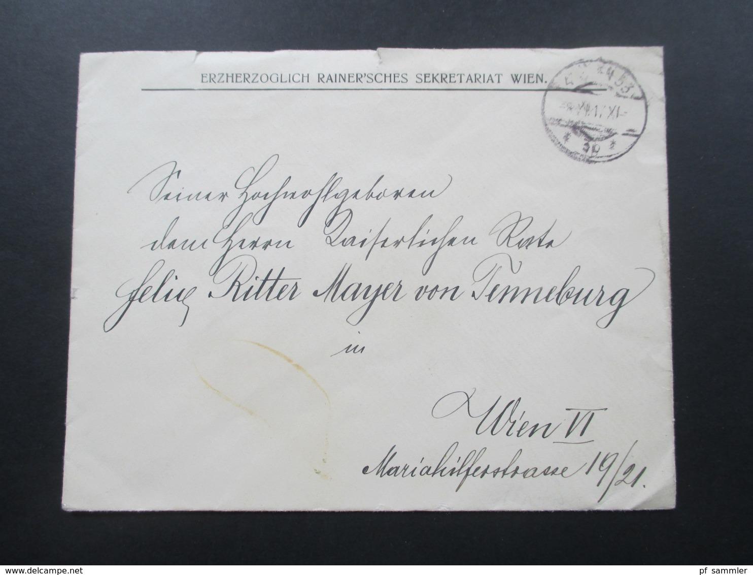 Österreich 1917 Erzherzoglich Rainer'sches Sekretariat An: Felix Ritter Mayer Von Tenneburg. Öst. Touring Club - Briefe U. Dokumente