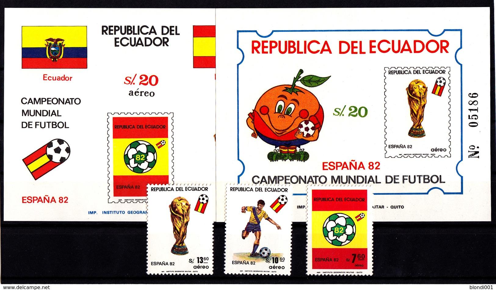 Soccer World Cup 1982 - ECUADOR - 2 S/S Imp.+Set MNH** - Coupe Du Monde