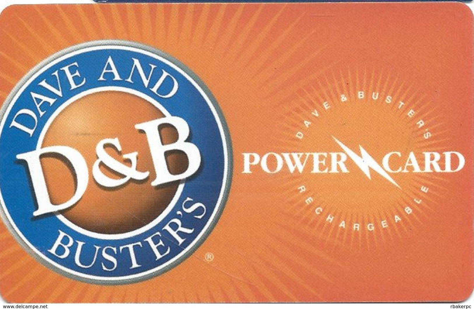 Dave & Buster's / D&B Rechargeable Power Card / Gift Card / 2011 - Gift Cards