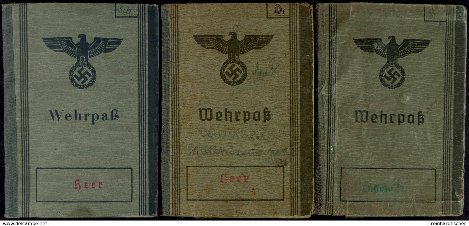 1421 3x Wehrpass, 2x Heer Und 1x Luftwaffe, Unterschiedlicher Zustand. - Documents