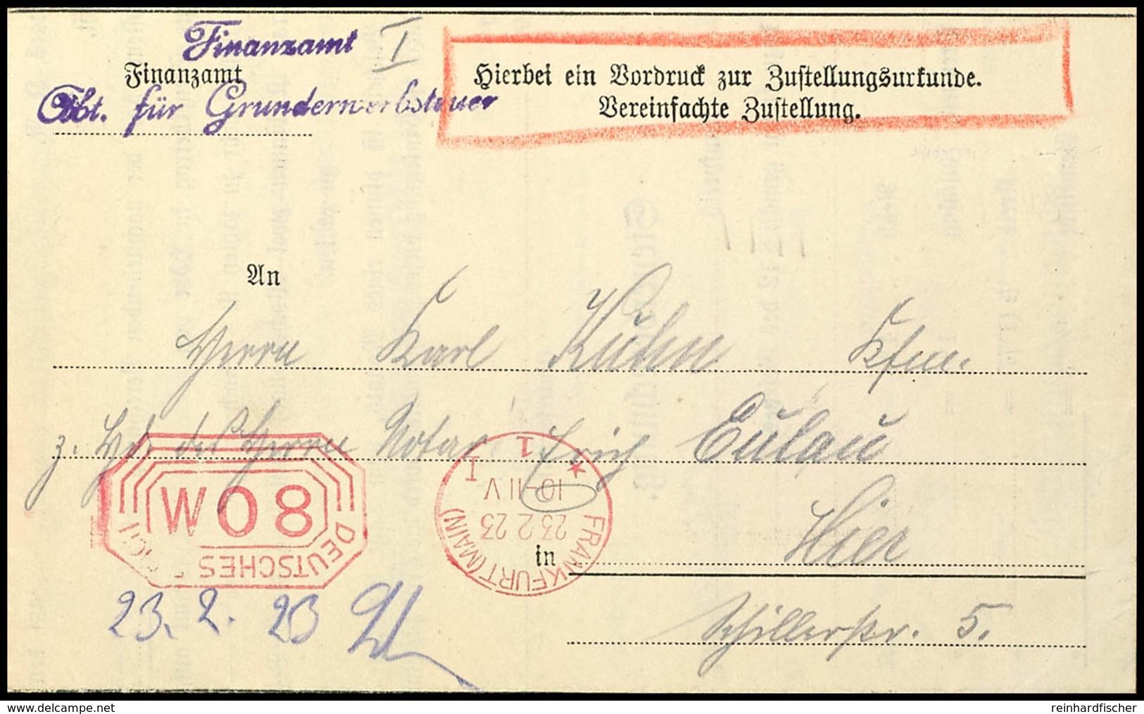 3483 1923, 80 M. Postfreistempel Von FRANKFURT 23.2. Auf Kpl. Faltbrief Mit Zustellungsurkunde, Gute Erhaltung, Mit Post - Germany