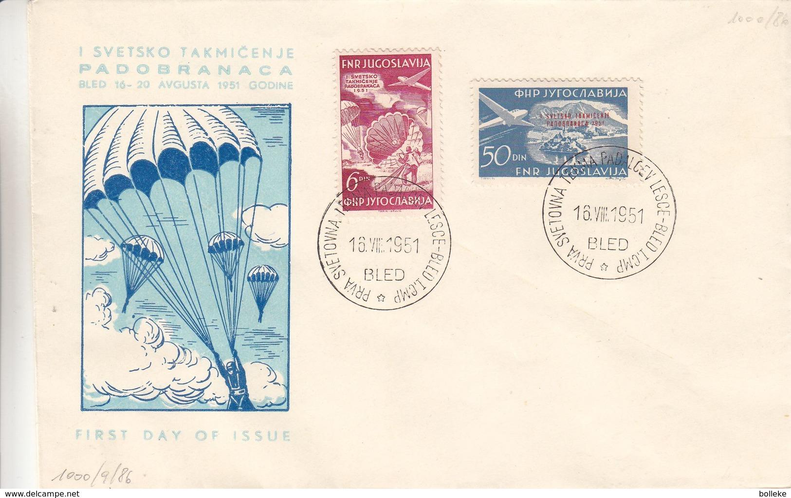 Yougoslavie - Lettre  De 1951 - Oblit Bled - Parachutisme - Avions - Valeur 120 Euros - 1945-1992 Socialist Federal Republic Of Yugoslavia