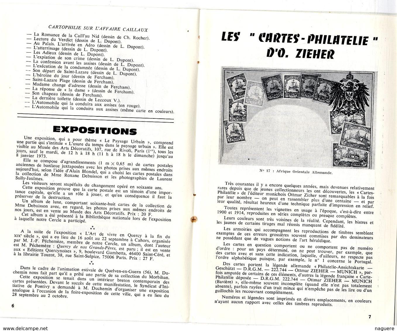 LE CARTOPHILE  DECE 1972  N° 27  -  24 PAGES L AFFAIRE CAILLAUX LES INCUNABLES CARTES PHILATELIE   Etc .. - Français