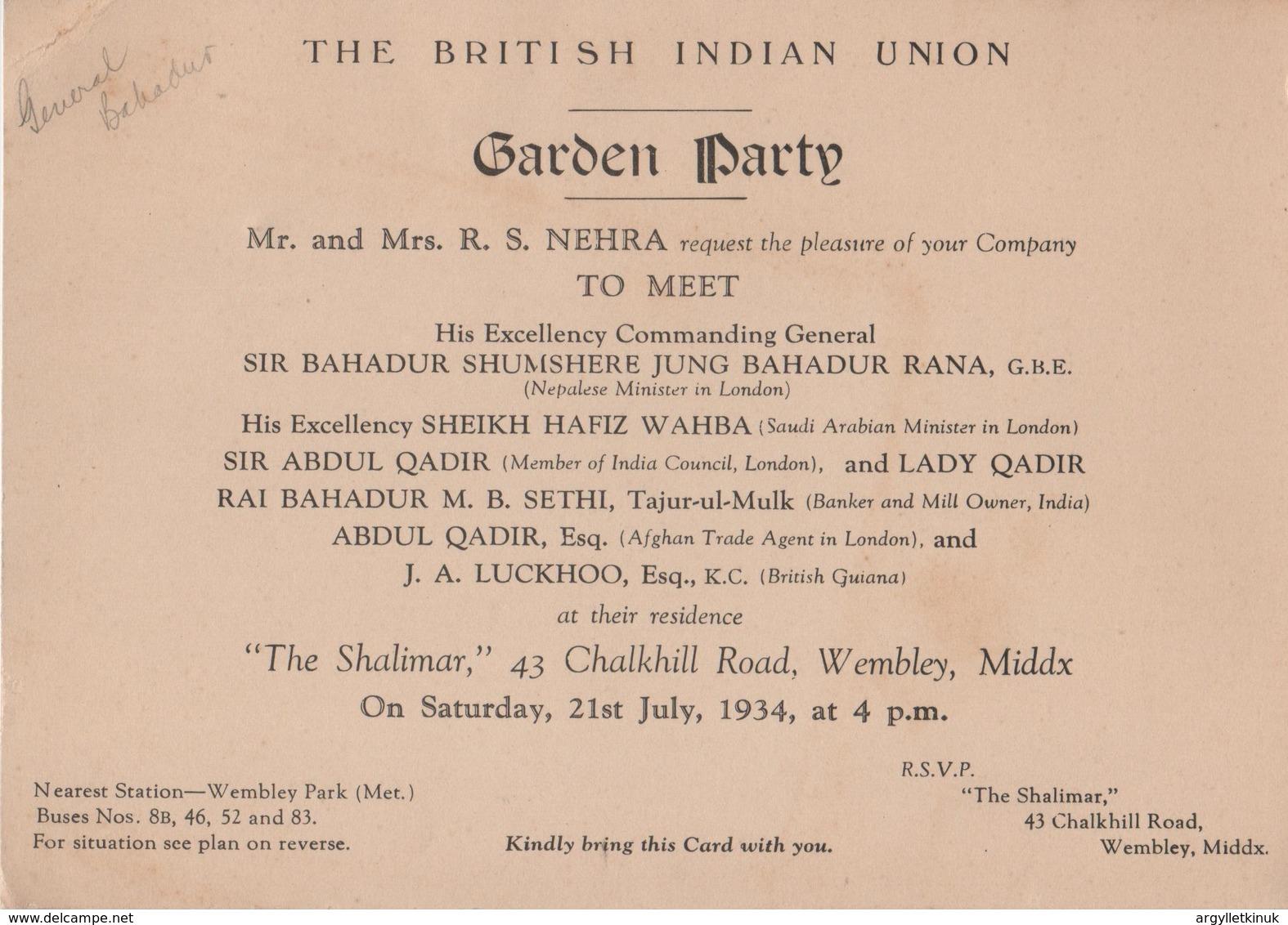 BRITISH INDIAN UNION NEPAL SAUDI ARABIA AFGHANISTAN 1934 WEMBLEY - Tickets - Vouchers