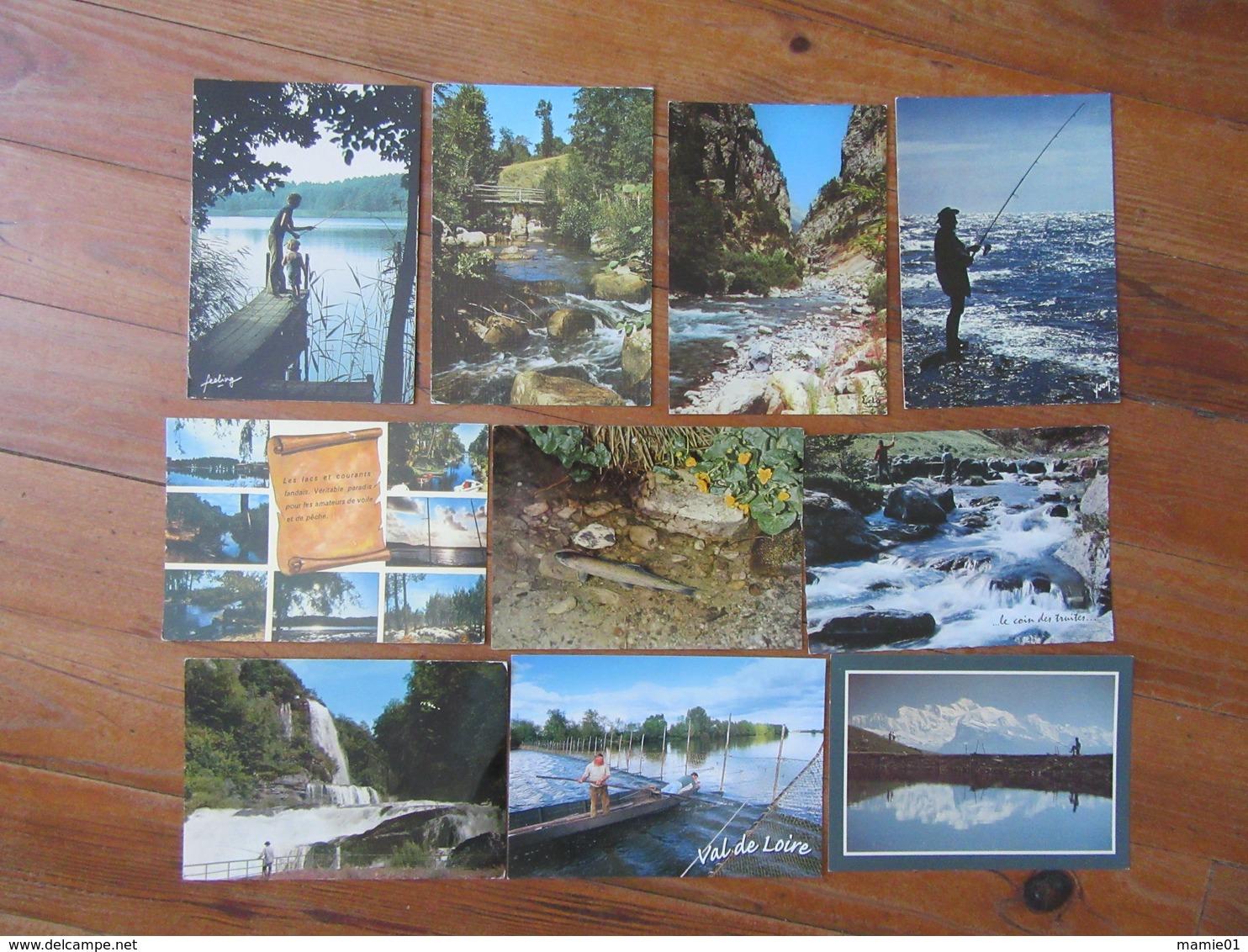 Lot De 10 Cartes De Pêcheurs   Saumon Truite - Cartoline