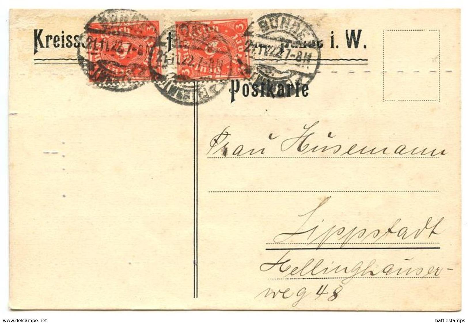 Germany 1922 Postcard Bünde To Lippstadt, Scott 188 3m. Post Horn X 2 - Deutschland