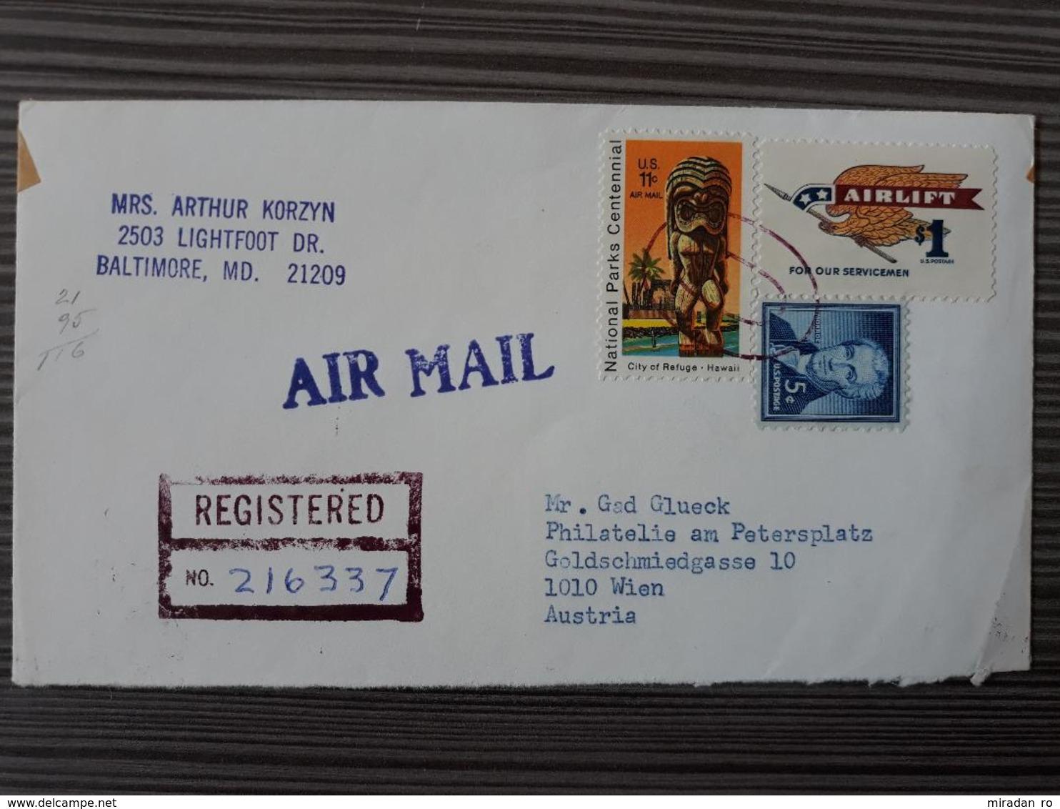 NR 27 - US USA TO AUSTRIA AIRMAIL POSTAL HISTORY POSTCARD 1972 - United States
