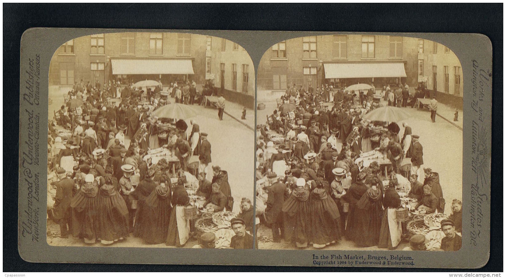PHOTO STEREO- UNDERWOOD  & UNDERWOOD - BRUGES - Belgium - In The Fish Market -recto Verso-Paypal Free - Photos Stéréoscopiques