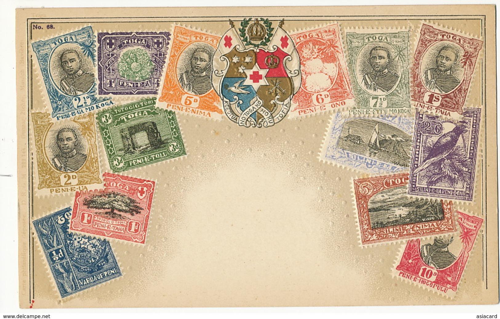Embossed Card With Toga Stamps  Carte Philatelique Ottmar Zieher  Gaufrée Pub Farine Renaux - Tonga