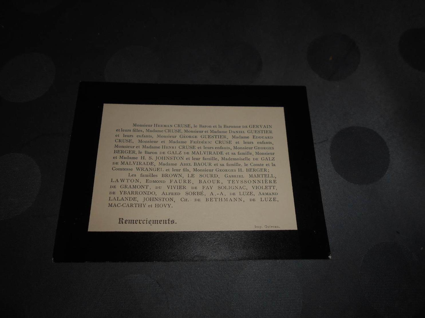 139- Faire-Part De Décès , Remerciement Pour Le Décès D'un Membre De La Famille Du Baron DE GERVAIN - Décès