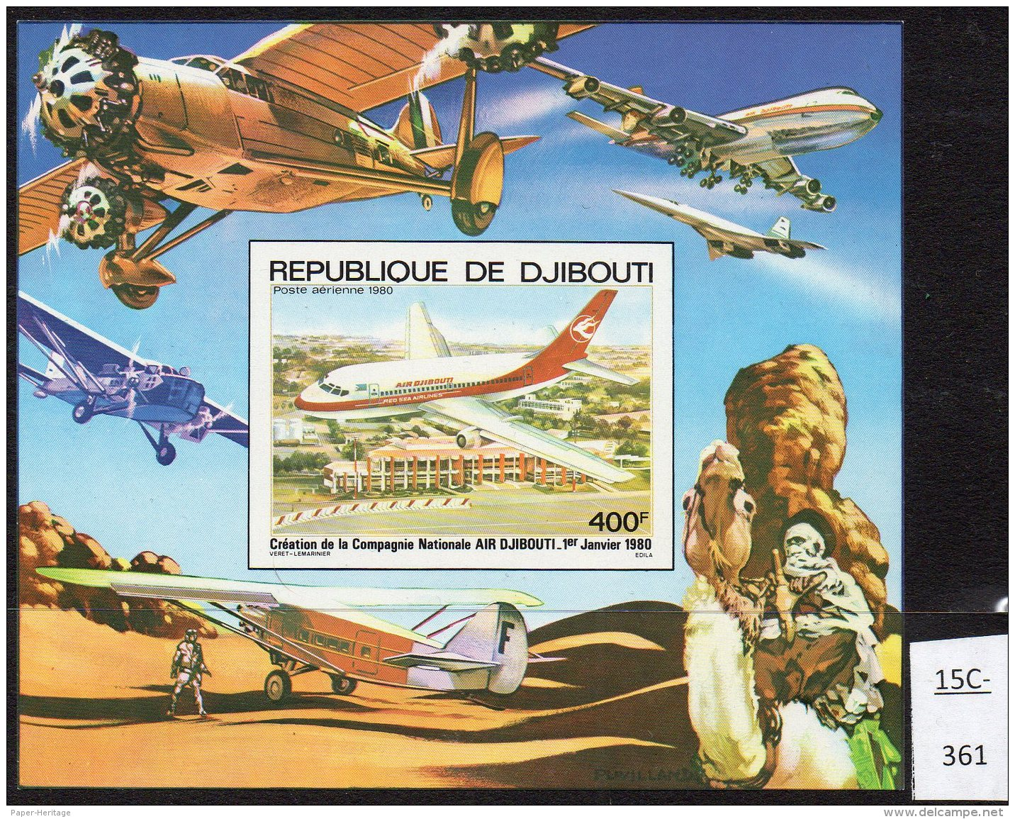 Djibouti 1980 Aircraft Aviation Deluxe IMPERF M/s With Concorde Etc In Margin.  MNH - Concorde
