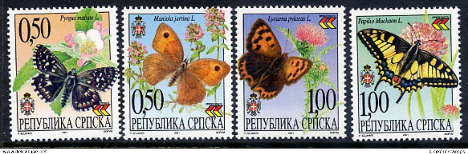 BOSNIAN SERB REPUBLIC 2001 Butterflies MNH / **.  Michel 202-05 - Butterflies