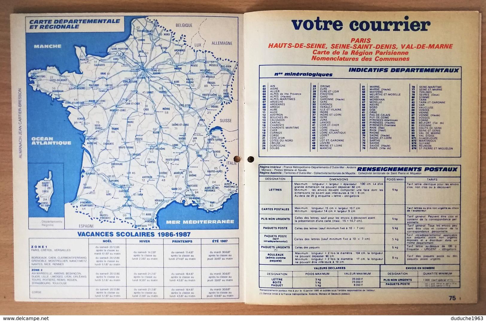 Calendrier La Poste - Almanach : 75-92-93-94 Paris Et Banlieue 1987. Plan Banlieue Paris,métro,autobus - Calendriers