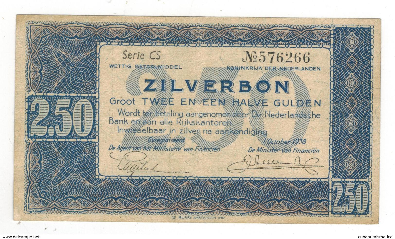 Netherlands, 2 1/2 Gulden. 1938,  VF+. - [2] 1815-… : Regno Dei Paesi Bassi