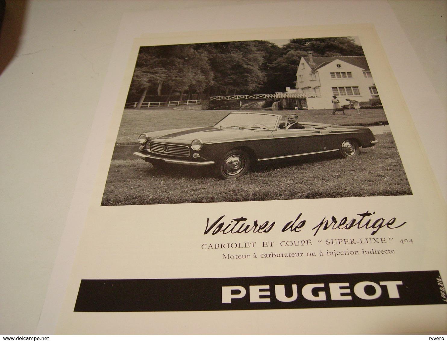 ANCIENNE PUBLICITE VOITURE DE PRESTIGE 404  PEUGEOT  1965 - Voitures