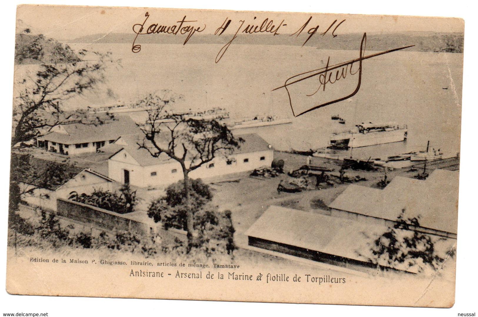 Tarjeta Postal De Antsirane- Arsenal De La Marine Et Flotillee De Torpilleurs. Circulada 1916 - Madagascar