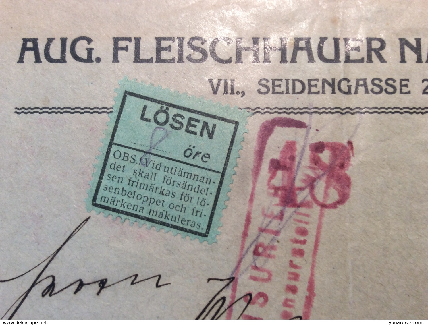 Sweden Schweden 1918 Postage Due LÖSEN Cover From Österreich Wien ZENSUR > STOCKHOLM (censored WW1 Brief Lettre - Schweden