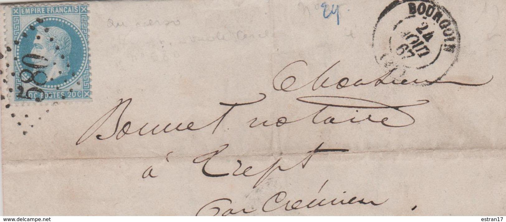 NAPOLEON III LAURE 20C BLEU OBLITERATION GROS CHIFFRE 580 BOURGOUIN - 1849-1876: Période Classique