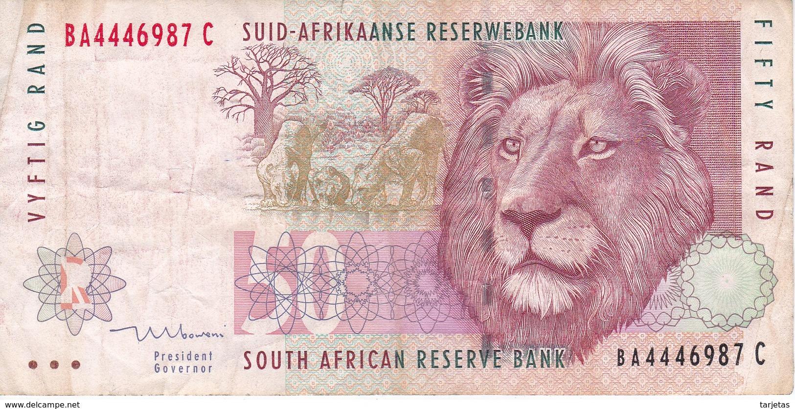 BILLETE DE SURAFRICA DE 50 RAND DEL AÑO 1999    (BANKNOTE)  LEON-LION - Suráfrica
