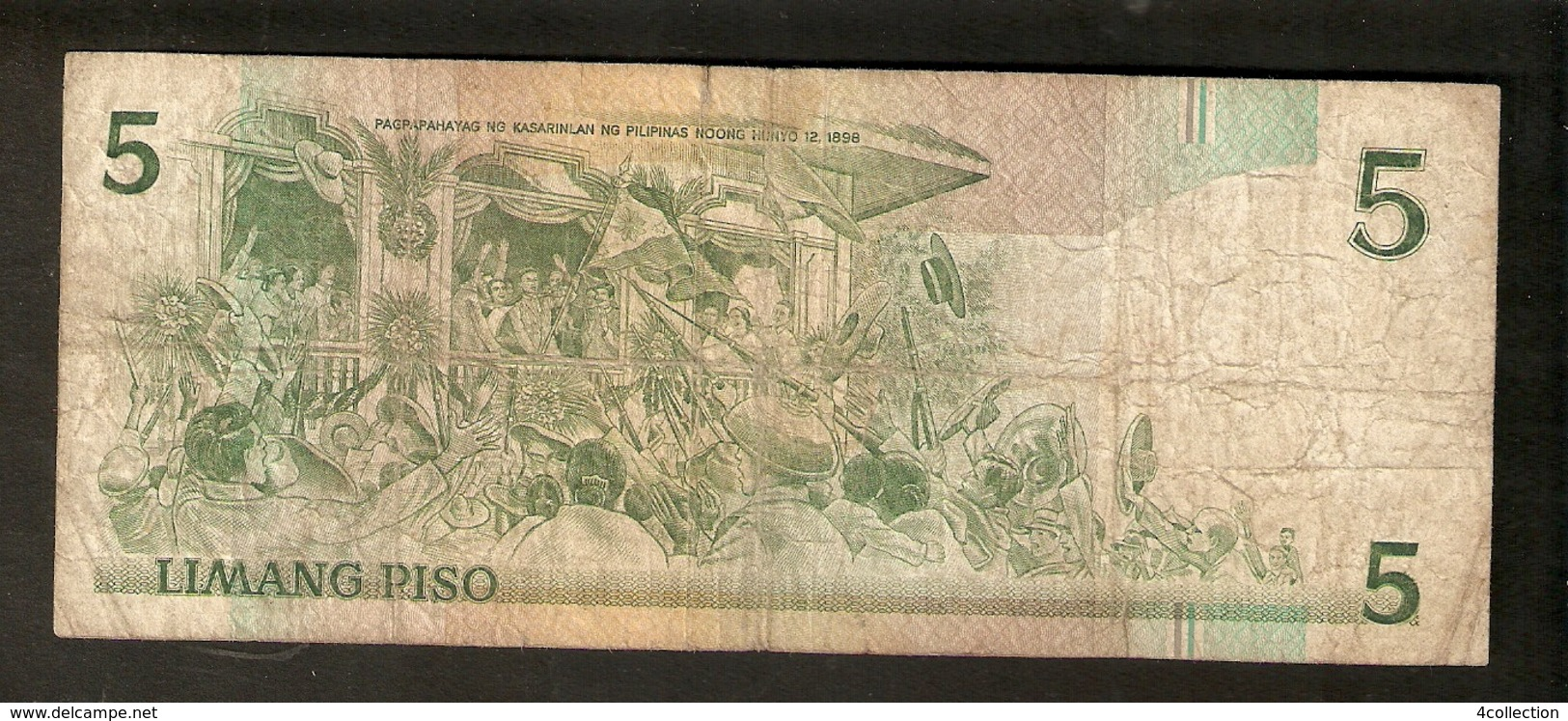 T. Philippines Republika Ng Pilipinas Limang Piso 5 Pesos ( 1956 ) Emilio Aguinaldo Ser. PY 341896 - Philippines