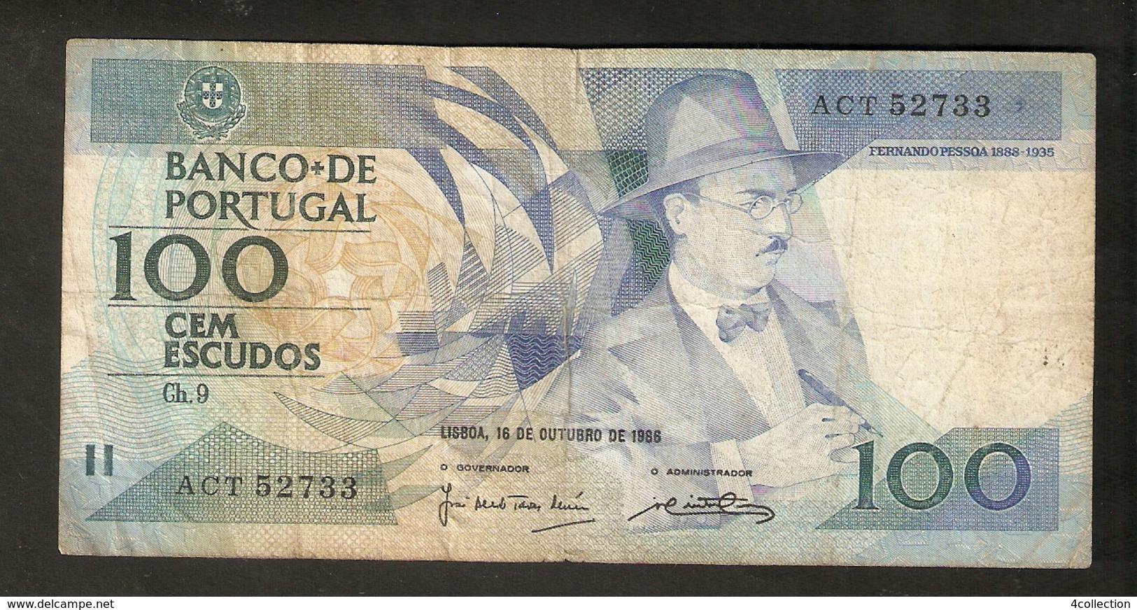 T. Portugal Cem 100 Escudos Lisboa 1986 # ACT 52733 Fernando Pessoa - Portugal