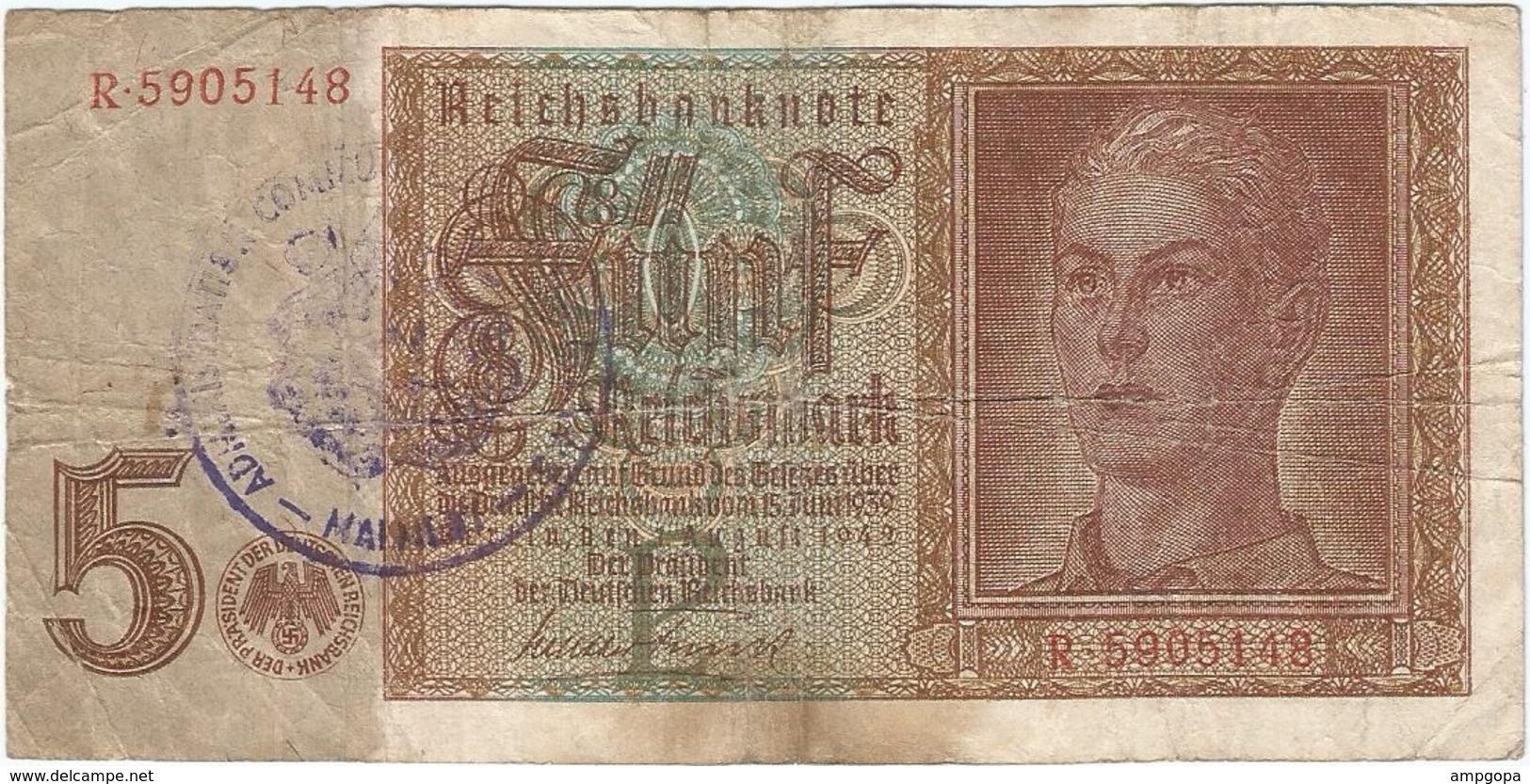 Bélgica (ocupación Alemana) - Belgium 5 Reichsmark 1945 Sello Malmedy RARO Ref 801-2 - [ 3] Occupazioni Tedesche Del Belgio