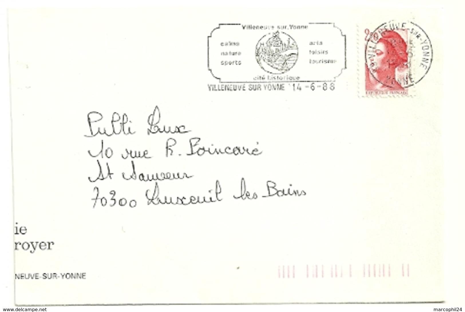 YONNE - Dépt N° 89 = VILLENEUVE Sur YONNE 1988 = FLAMME Type II = SECAP  = 'calme Nature Sports ' - Mechanical Postmarks (Advertisement)