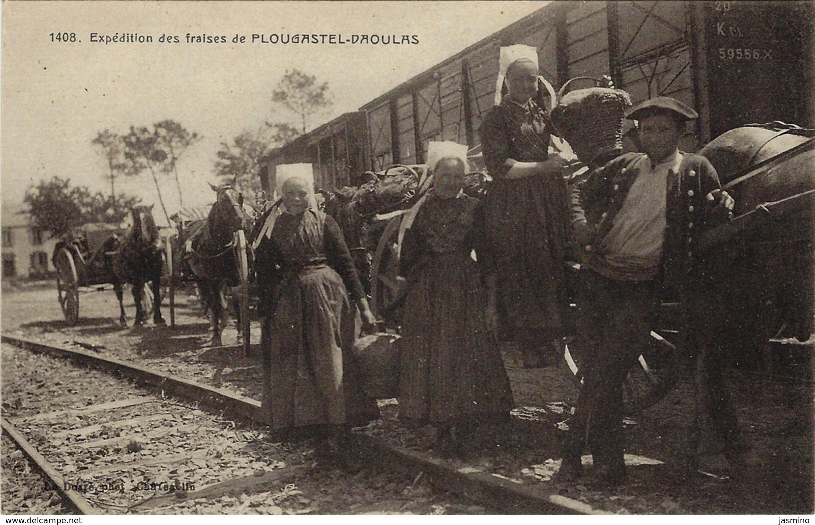 Expédition Des Fraises De Plougastel- Daoulas.(voir Texte Au Dos , Traduction).(scène De Gare) - Plougastel-Daoulas